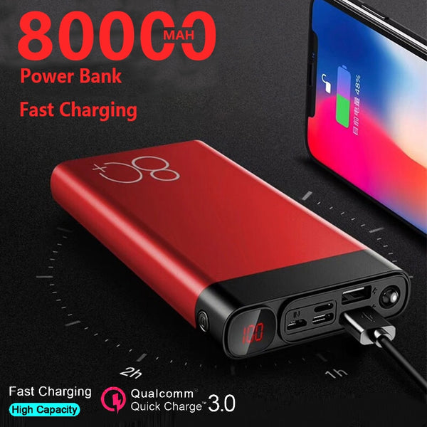 Large Capacity 80000mAh Power Bank Quick Charge Dual USB Fast Charging Portable Powerbank for IPhone Xiaomi Samsung 2020 Hot