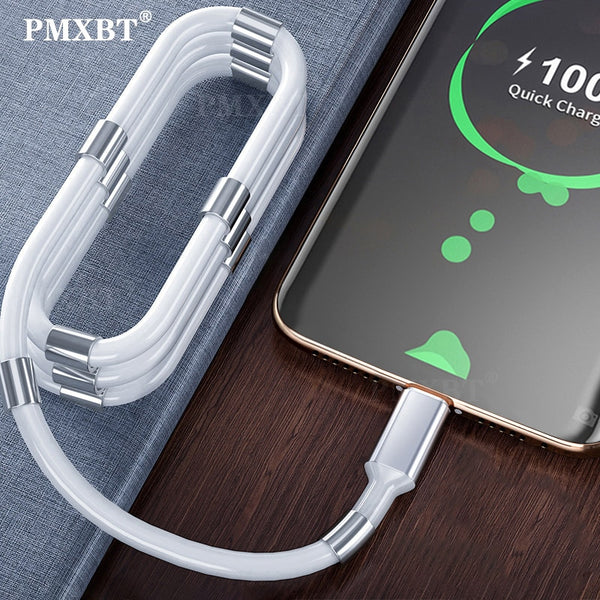 Magnetic Absorption USB Cable Micro USB Type-C For Mobile Phone Tablet Flexible Foldable Non-Tangled Charging Cord Easy Storage