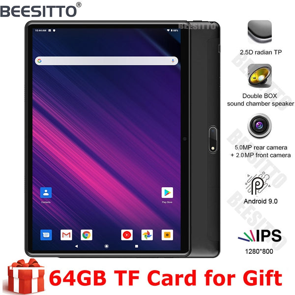 Free Shipping Android 9.0 Tablet PC Dual Cameras Tempered Glass 2.5D screen 32GB ROM 1280*800 IPS 3G WIFI 10 inch Tablet pc+Gift