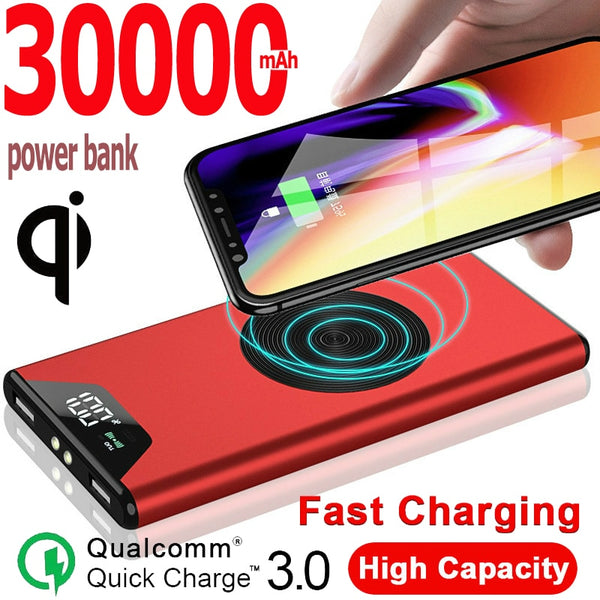 Power Bank 30000mAh Portable Charger Wireless External 2USB Port External Battery Pack for Xiaomi Samsung IPhone