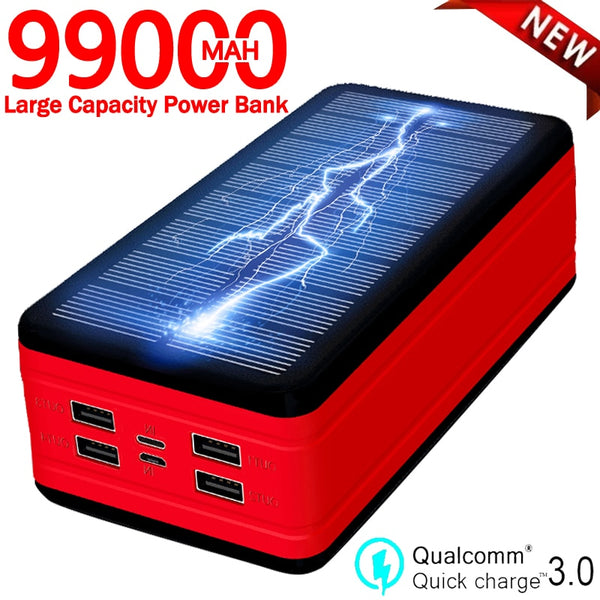 99000mAh Solar Power Bank Large Capacity Portable Charger LED Waterproof Outdoor Poverbank for Iphone Xiaomi Samsung