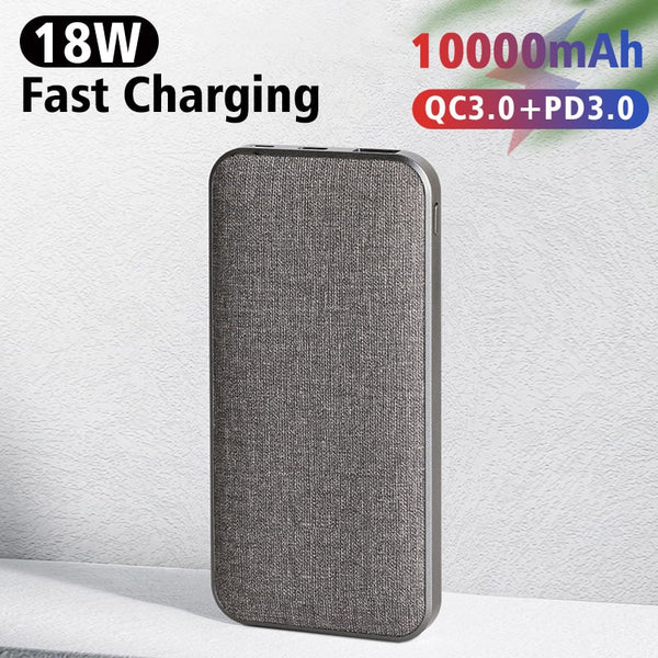 CASEIER Cloth Surface 10000 mAh Power bank For iPhone 11 XR Fast Charging Portable Charger Powerbank For Xiaomi Huawei Poverbank
