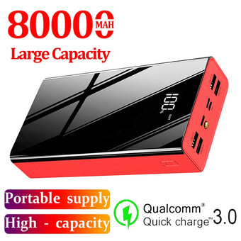 80000mAh Power Bank LCD PowerBank External Battery USB for Samsung Xiaomi Iphone Portable Large Capacity Mobile Phone Charger
