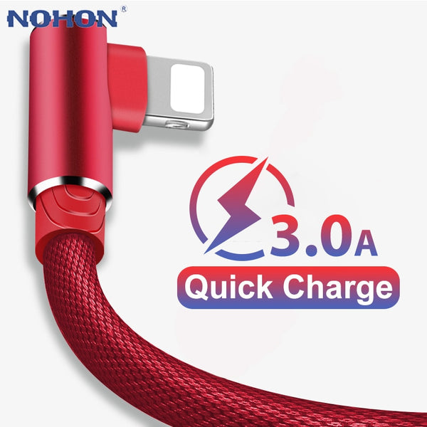 90 Degree Elbow Fast Charge Charger USB Cable For iPhone 6 6s 7 8 X XS 11 Pro MAX 5 5S SE iPad Origin Cord Wire iPhon Cable 3m