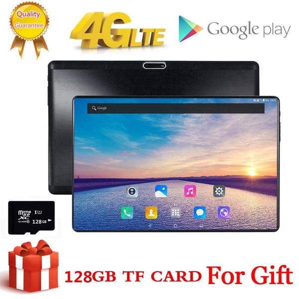 Free Gift 128GB TF Card 1920X1200 2.5D Tempered Glass Screen 10 inch 8 Octa Core 3G 4G LTE Tablet pc 3GB RAM Android 7.0 tablets