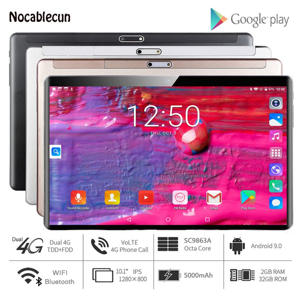 2020 Free Shipping 10 inch Tablets Android 4G LTE Android 9.0 Pie 32GB ROM 2GB RAM Octa Core Wifi GPS 10.1 inch tablet