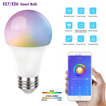 8 Pcs E27/E26 9W Smart Bulb Portable Timing Voice Control LED Home Automation eWeLink Adjust RGB+CCT Lamp With Google Home Alexa