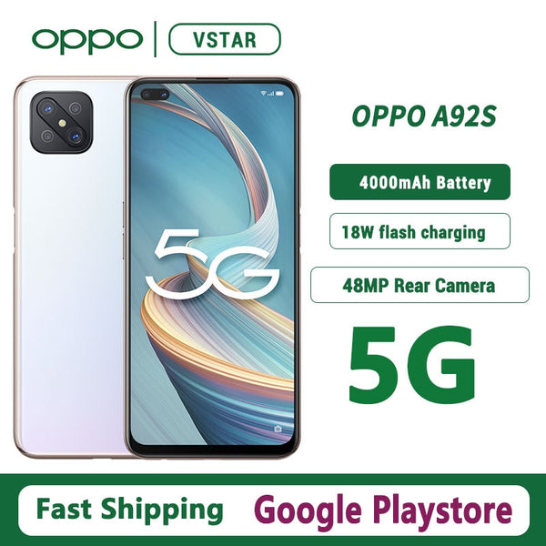 Original OPPO A92s 5G SmartPhone 6.57 inch 120Hz screen MTK MT6873V SA/NSA Fingerprint ID Google Play Store
