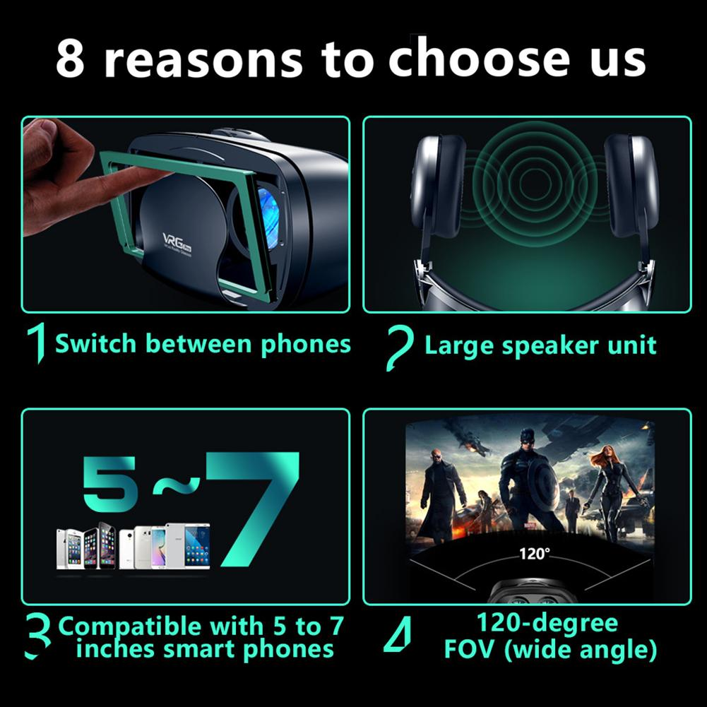 Full Screen VR Glasses  Durable Virtual Reality Glasses with A Large Headset for 5 to 7 inch Smart Phone with Detachable Frame