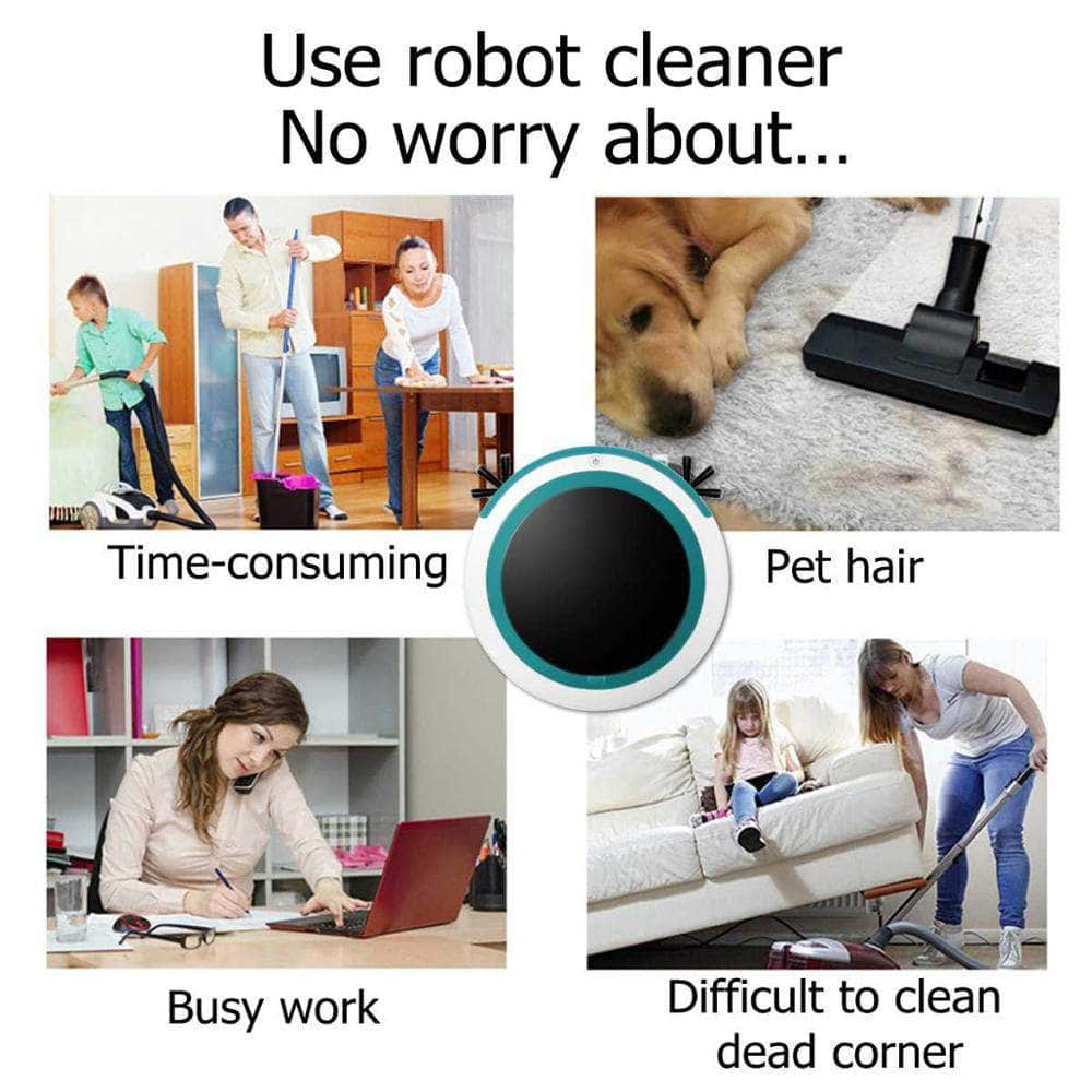 Automatic Smart Robot Vacuum Cleaner Mopping Sweeping Suction Cordless Auto Dust Sweeper Machine Anticollision for Home Cleaning Mybigfatstore