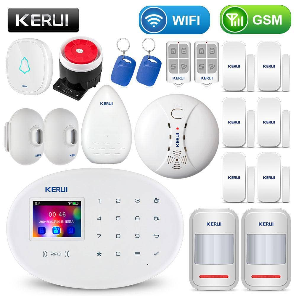 KERUI WIFI GSM Home Security Alarm System With 2.4 inch TFT Touch Panel APP Control RFID Card W... Mybigfatstore