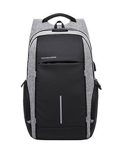 MOCA Anti-Theft Mens 15.6 inch Laptop Backpack for Mens Womens Laptop Bag Backpack [with USB Charging Port] Casual Fits up to for 15.6 inch Laptop Backpack 40 l Litre LTR (2215 Grey with TSA Lock) Mybigfatstore