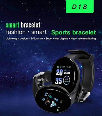 New D18 Smart Bracelet Band With Heart rate Monitor Smartwatch Blood Pressure Fitness Trac...