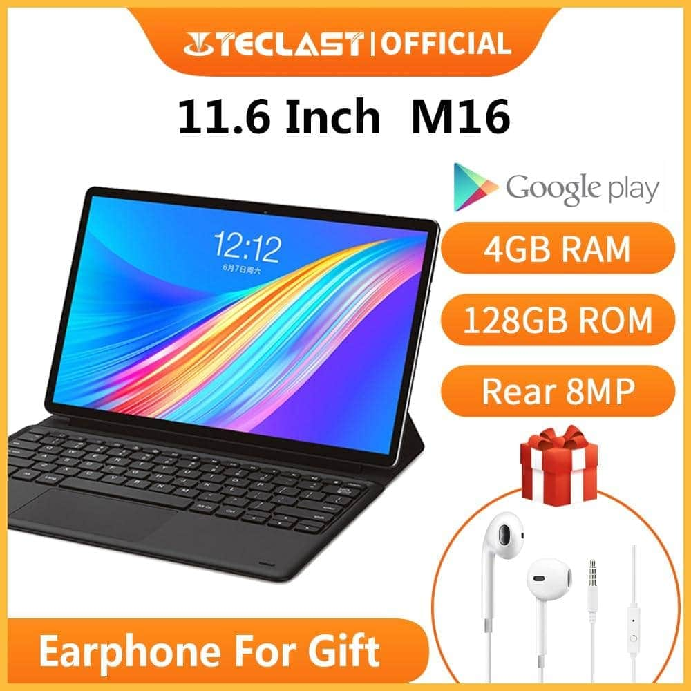 "Teclast M16 2 in 1 Tablets 11.6"" Android 8.0 Tablet PC 4GB RAM 128G ROM Helio X27 Deca Core4G N... Mybigfatstore"