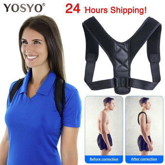 YOSYO Brace Support Belt Adjustable Back Posture Corrector Clavicle Spine Back Shoulder Lumbar ...