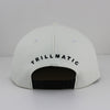 """Rubber Logo"" White Leather w/ Satin Strapback Hat"
