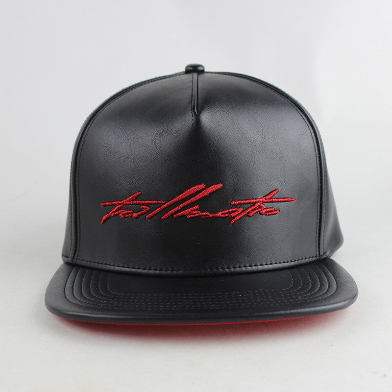 """Red Script"" Black Leather w/Satin Strapback Hat"