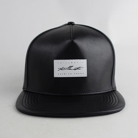 """White Patch"" Black Leather w/ Suede Strapback Hat"