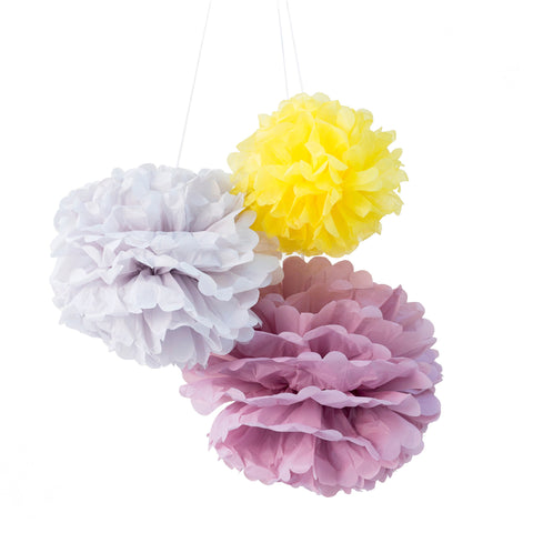 "Set 3 Pompons papier ""Sunshine"""