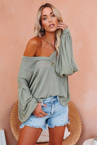 UNTOLD STORIES LONG SLEEVE TOP (LIGHT OLIVE)