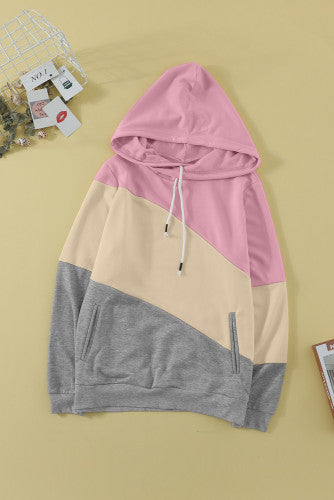PARK STROLLS AMPERSAND ASYMMETRICAL COWL NECK HOODIE (PINK/YELLOW/GREY)