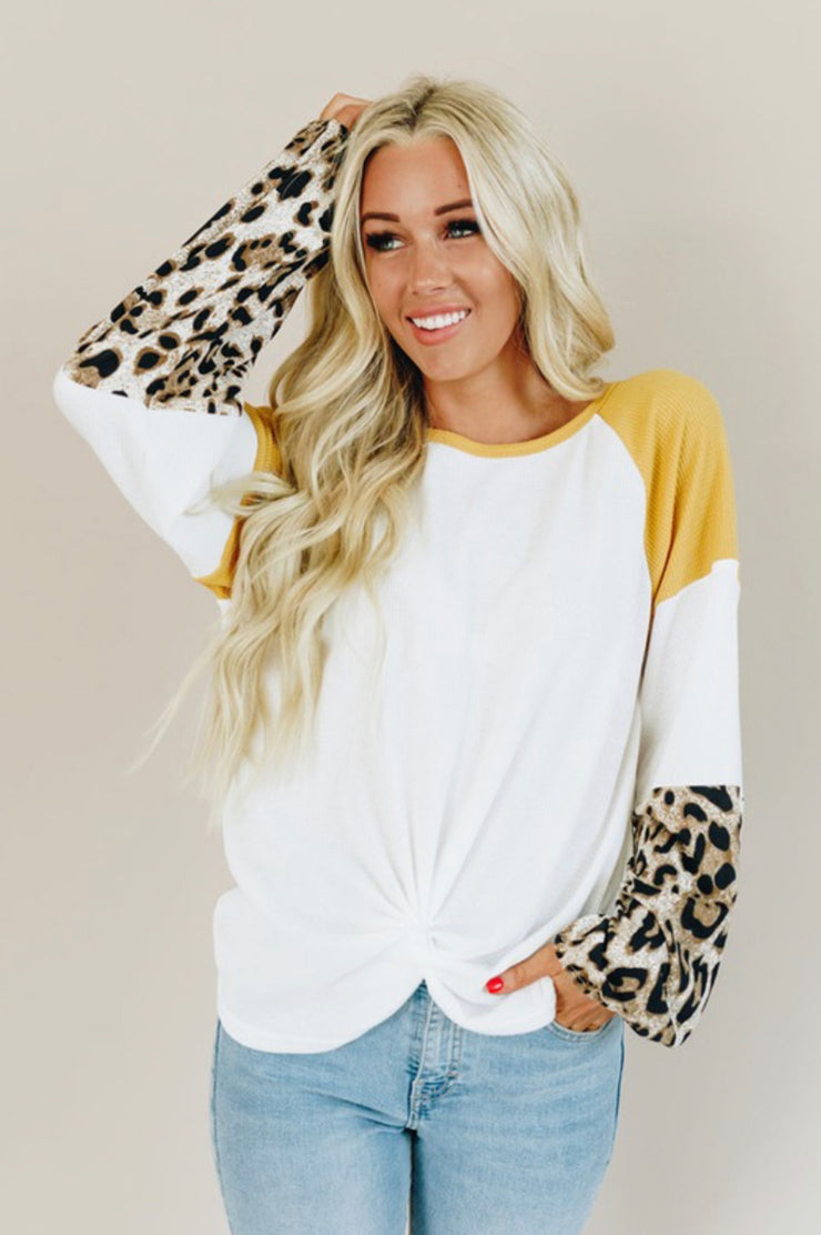 MAKE SOME TIME LEOPARD PRINT WAFFLE KNIT TOP (YELLOW)