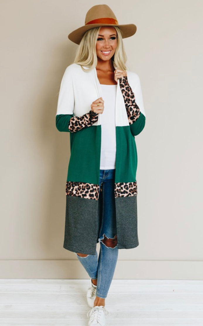 Let's Get Wild Colorblock cardigan (hunter green)