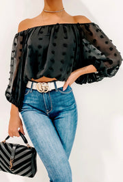PLAY DATE OFF THE SHOULDER CROP TOP (BLACK)v