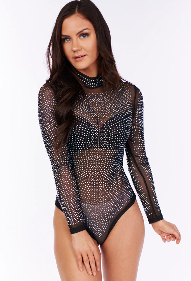 SECRET MOMENTS RHINESTONE BODYSUIT (BLACK)