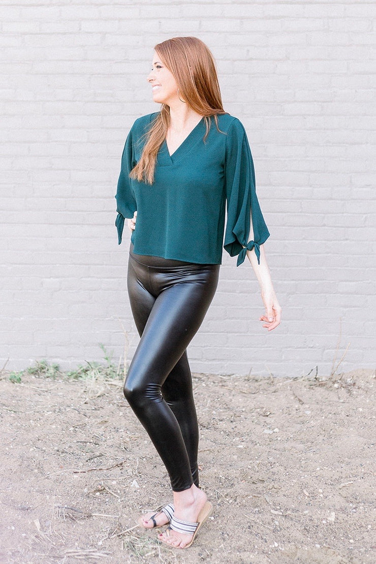 Lush Life Bell Sleeve Top (Hunter Green)