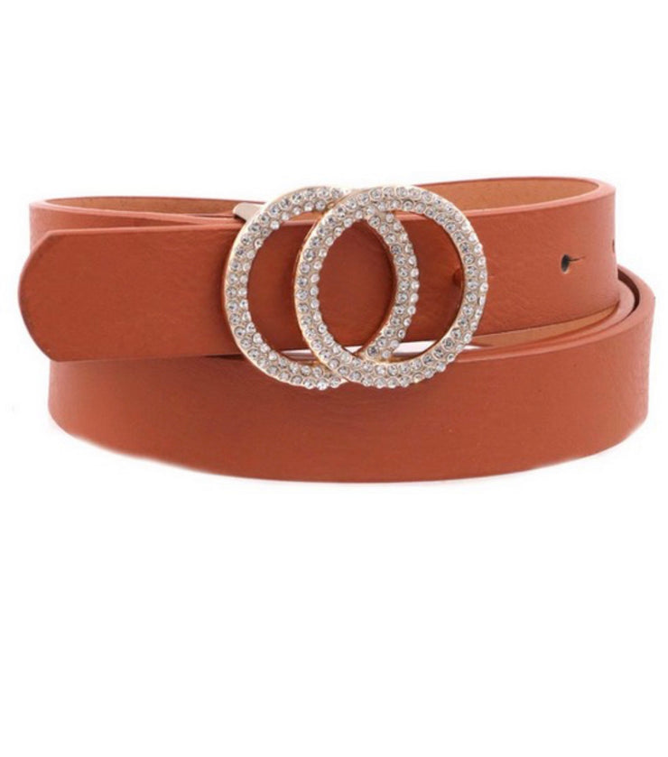 The world is yours embellished belt (Camel)