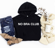 No Bra Club Hooded Crop Top (Black)
