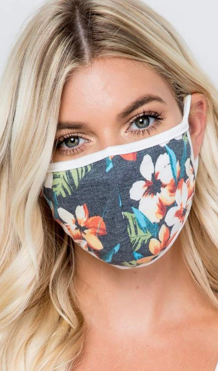 Floral Face Mask (Navy)