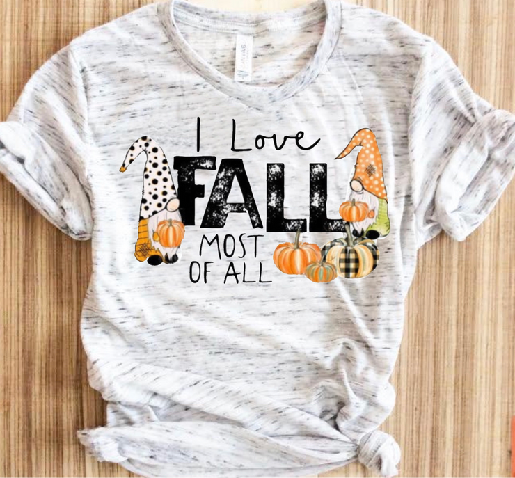 I Love Fall Most Of All Graphic Tee (Ash Marble)