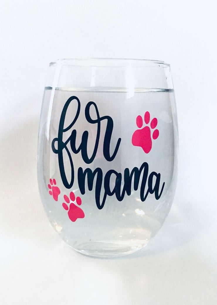 Fur Mama Wine Glass