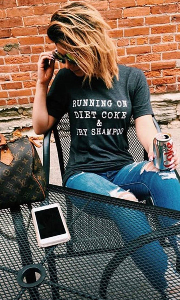 Running On Diet Coke & Dry Shampoo Graphic Tee (Charcoal)