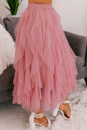 PLAY IT TULLE MESH TULLE SKIRT (Mauve)