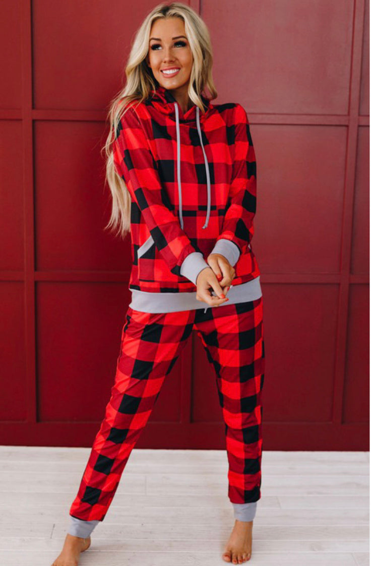 Road To Cozy Two Piece Set (Red Plaid)