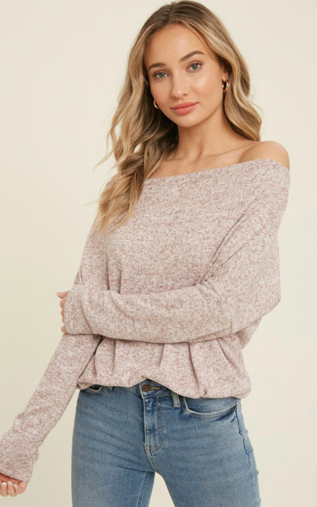 GOT YOUR LOVE OFF THE SHOULDER SWEATER (HEATHER BURGUNDY)
