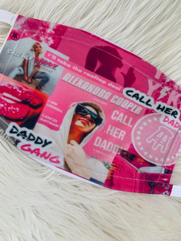 Call Her Daddy Collage Face Mask