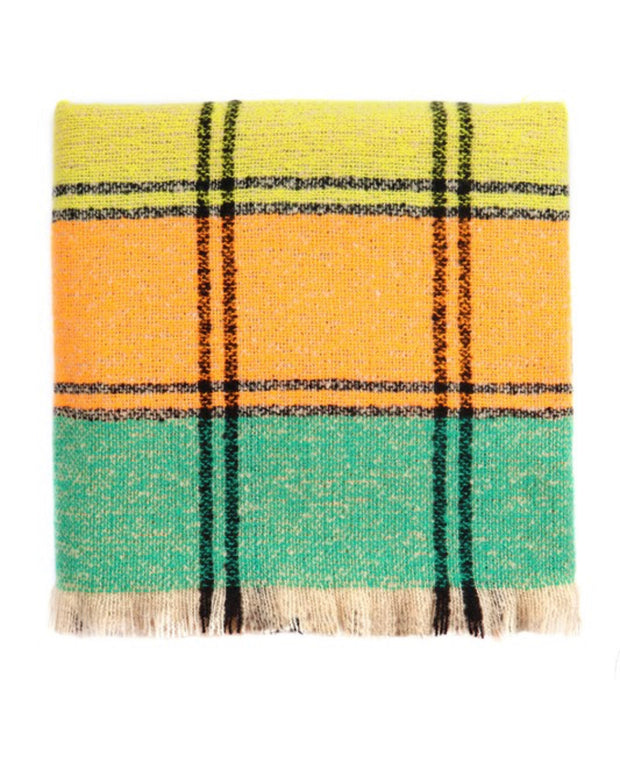 Last to know plaid blanket scarf (Orange/Teal)