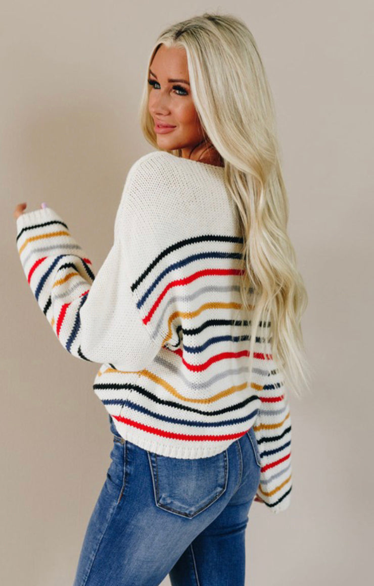 Because Of You Striped Sweater (Beige Combo)
