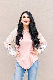 Take Me Back Color Block Top (Blush Multi)