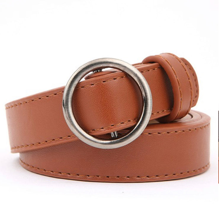 Wasting Away Round Skinny Belt (Camel)