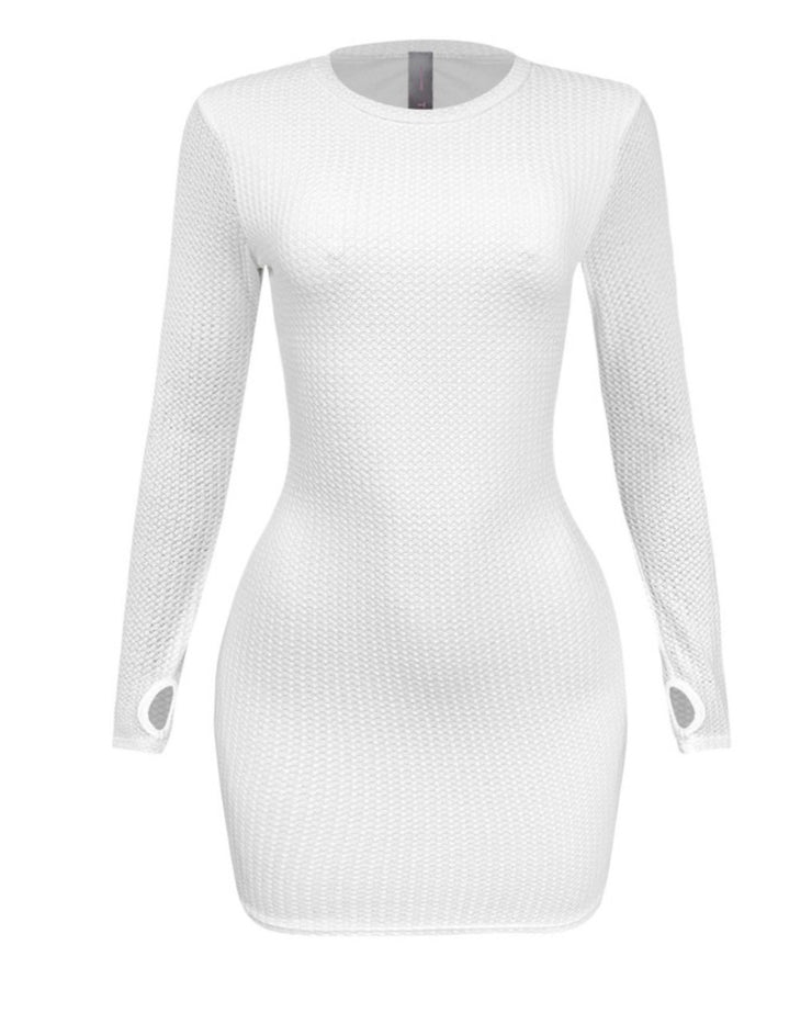 SWEET MOMENTS RIBBED BODYCON DRESS (Off White)