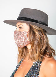 Sequin Face Mask (Rose Gold)