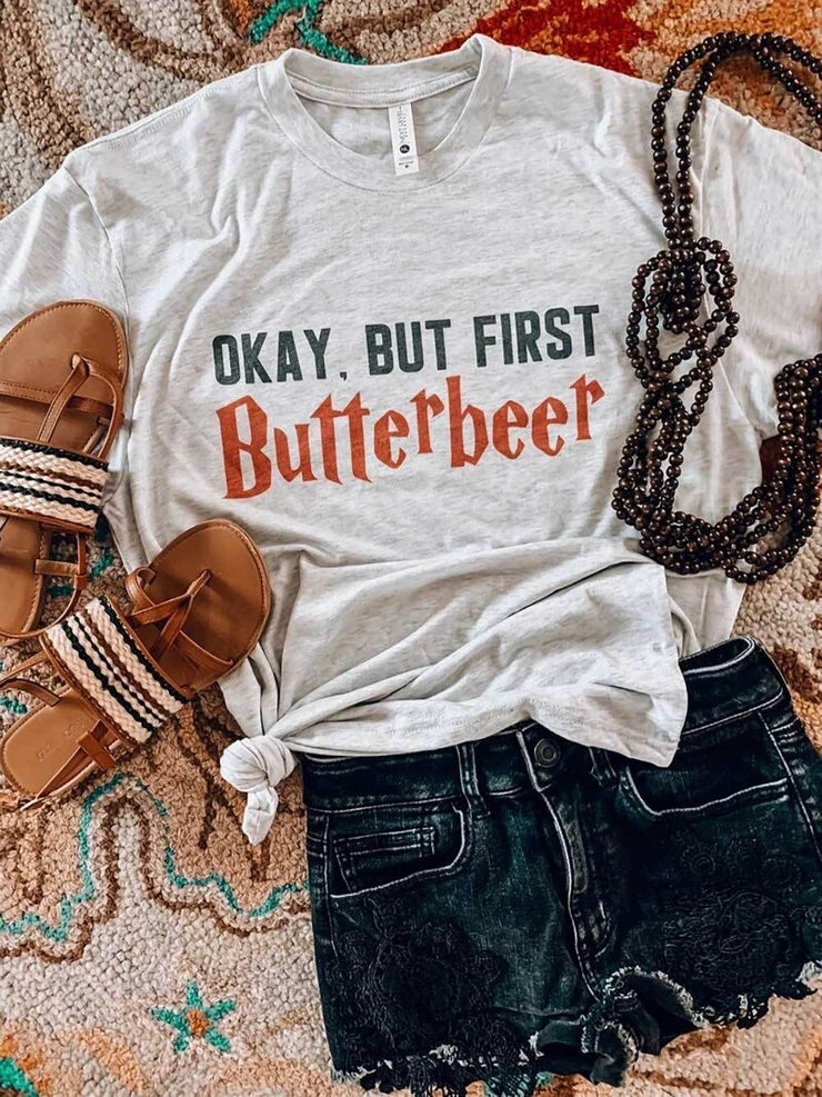 Okay, but first butterbeer graphic tee