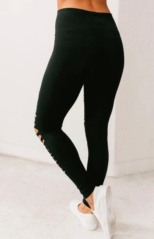 Out Of My Way Distressed Leggings (Black)