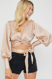 ROOFTOP RANDEVU SATIN CROP TOP (TAUPE)