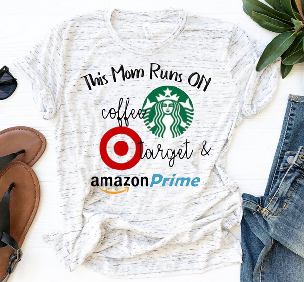 This Mom Coffee Target Amazon Prime Graphic Tee (Marble)